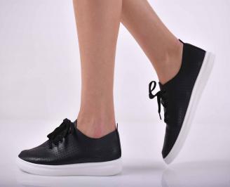 Дамски равни обувки кожа черни  SYNG-1015170