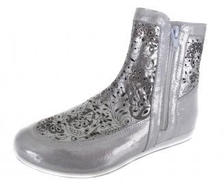 Дамски равни обувки сребристи естествена кожа HVBO-19091