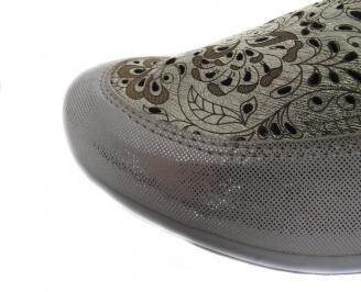 Дамски равни обувки златисти естествена кожа CPLF-19094
