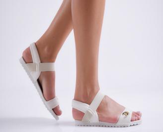 Дамски равни  сандали бели текстил TSDF-24118