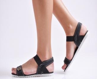 Дамски равни  сандали черни текстил YDYJ-24115