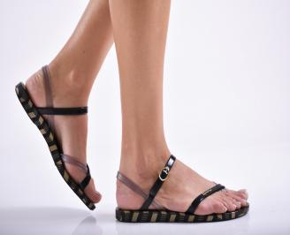 Дамски равни  сандали черни WNIU-27287