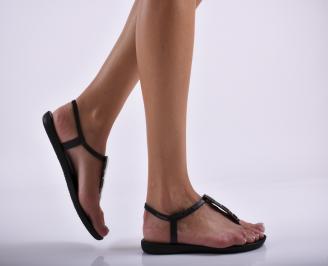 Дамски равни  сандали черни XCVB-27301
