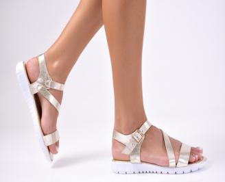 Дамски равни  сандали еко кожа златисти VADX-1012209