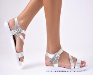 Дамски равни  сандали еко кожа сребристи INFA-1012210