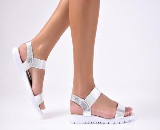Дамски равни  сандали еко кожа сребристи LKCL-1012212