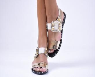 Дамски равни  сандали еко кожа/лак  златисти ZSHQ-1012451