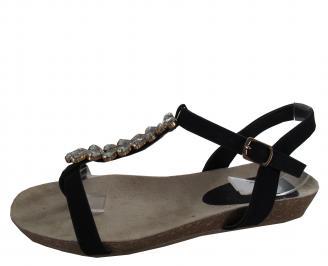 Дамски равни сандали еко кожа черни HYBX-21464