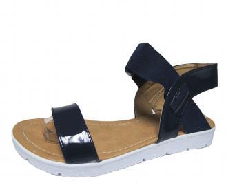 Дамски равни сандали еко кожа/лак тъмно сини FDRX-21583