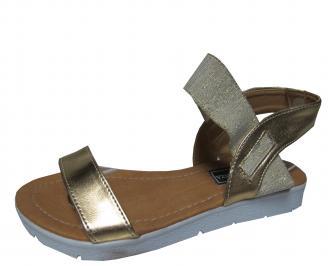 Дамски равни сандали еко кожа златисти ZZES-21622