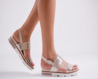 Дамски равни сандали еко кожа бежови FACB-23324