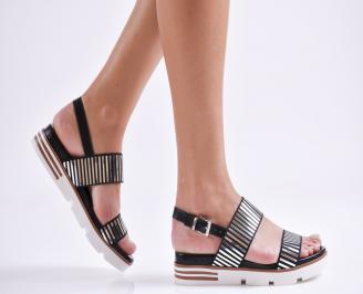 Дамски равни сандали еко кожа черни DTFH-23325