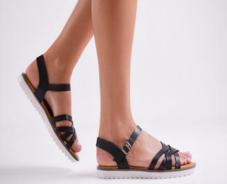 Дамски равни сандали еко кожа черни EVZG-23958