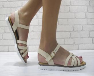 Дамски равни сандали еко кожа бежови UWSB-23959