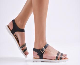 Дамски равни сандали еко кожа черни IELP-23964