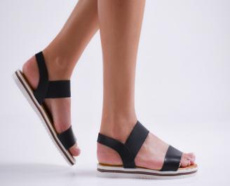 Дамски равни сандали еко кожа черни ABUF-23967