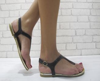 Дамски равни сандали еко кожа черни XSYV-23968