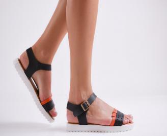 Дамски равни сандали еко кожа черни LJGJ-23970