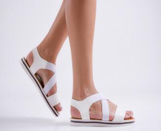 Дамски равни сандали еко кожа бели MTRM-23971