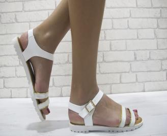 Дамски равни сандали еко кожа бели PIBQ-23972