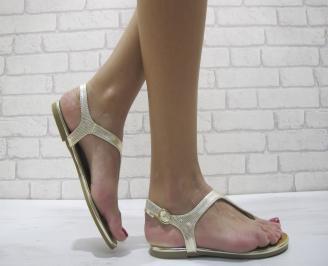 Дамски равни сандали еко кожа златисти ELAY-23973