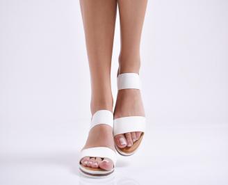 Дамски равни сандали еко кожа бели ODVG-23974