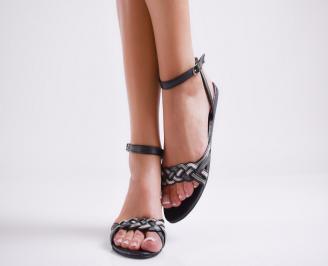 Дамски равни сандали еко кожа черни CYOM-23989