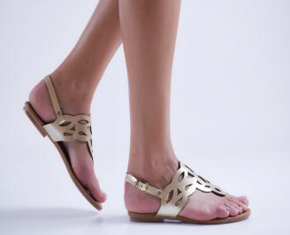 Дамски равни сандали еко кожа златисти QRXP-23990