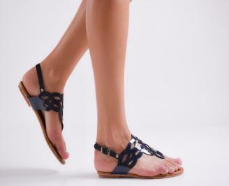 Дамски равни сандали еко кожа тъмно сини XADG-23991
