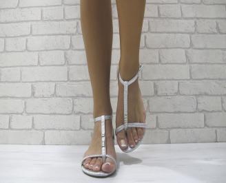 Дамски равни сандали еко кожа сребристи TJQI-23993