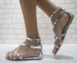 Дамски равни сандали еко кожа сребристи FAML-23996