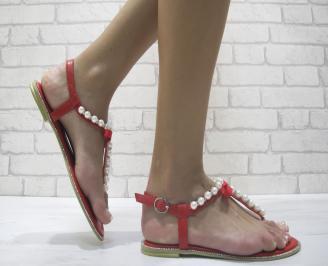 Дамски равни сандали еко кожа червени KZKO-24000