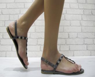 Дамски равни сандали еко кожа черни HLSP-24001