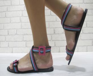Дамски равни сандали еко кожа черни IHNQ-24003