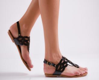 Дамски равни сандали еко кожа черни FVFJ-24004