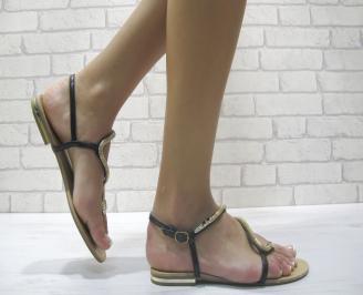 Дамски  равни сандали еко кожа черни EUJI-24005