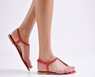 Дамски равни сандали еко кожа червени TZRK-24007