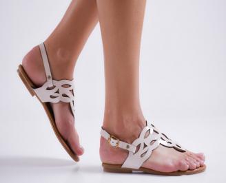 Дамски равни сандали еко кожа бежови ROCQ-24008