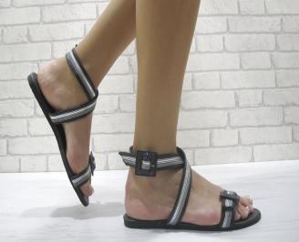 Дамски равни сандали еко кожа черни HUDB-24012