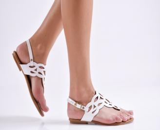 Дамски равни сандали еко кожа бели TIRC-24014