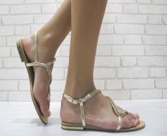Дамски равни сандали еко кожа златисто DFVG-24015