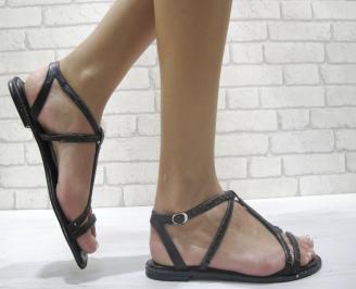 Дамски равни сандали еко кожа черни EEOY-24017