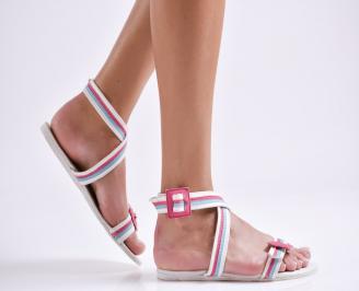 Дамски равни сандали еко кожа бели STMR-24021