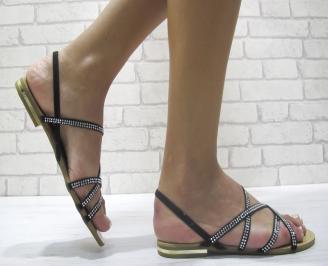 Дамски равни сандали еко кожа черни LBRD-24022