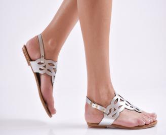 Дамски равни сандали еко кожа сребристи CXUI-24028