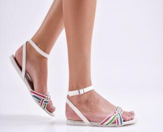 Дамски равни сандали еко кожа бели ZATC-24030
