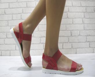 Дамски равни сандали еко кожа/лак червени NSJS-24039