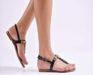 Дамски равни  сандали еко кожа черни FRKQ-24092