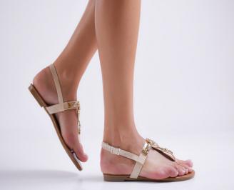 Дамски равни  сандали еко кожа бежови XPMC-24093