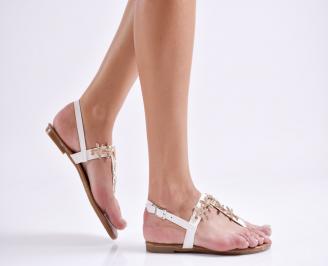 Дамски равни  сандали еко кожа бели FYWC-24094